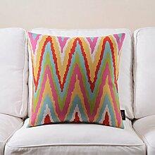 Rosa Rural Baumwolle und Leinen Kissen Kissen amerikanische landwirtschaftliche Thick Sofa-Kissen mit Kern ( farbe : # 3 )