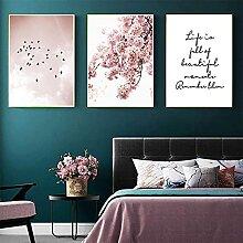 Rosa Sakura Blumenbild Poster Nordische Landschaft