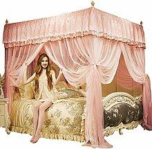 Rosa vier ecke verschlüsselte tüll moskitonetz, Verdicken sie Palast Double Home Stand Stock moskito-vorhang bett vordächer-Rosa Queen1