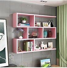 Rosa Wandbehang Holzregal für Wohnzimmer Schlafzimmer Bücherregal Lagerregal Wandschrank Einheit Regale Wanddekorationen Design Modern Style (Größe : 120cm*20cm)