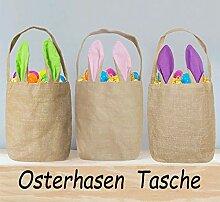 Rosahaar Osterhasen Taschen Osterkorb Jute Ostern