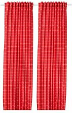ROSALILL IKEA Gardinenpaar in rot/weiß;