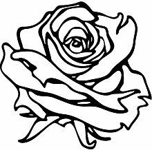 Rose Aufkleber 001, 50 cm, schwarz