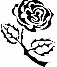 Rose Aufkleber 004, 50 cm, schwarz