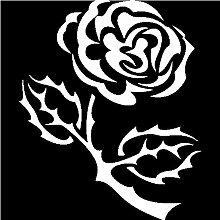 Rose Aufkleber 004, 50 cm, weiss