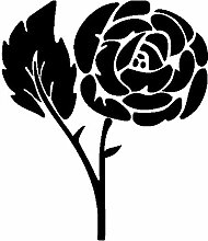 Rose Aufkleber 006, 50 cm, schwarz