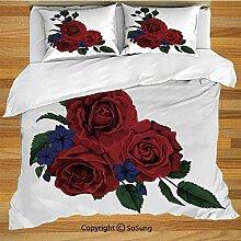 Rose Bettwäsche Bettbezug Set, blühende rote