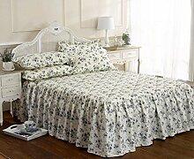 Rose Blau Blumenmuster Einzelbett Bettüberwurf