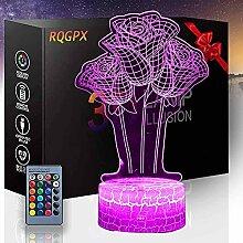 Rose Blume 3D Optische Täuschungslampe 3D