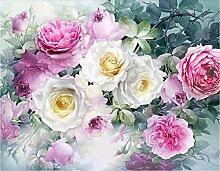 Rose Blume 3D Tapeten -250Cmx180Cm Rosa Schön