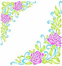 Rose Ecke Schablone-wiederverwendbar Flourish