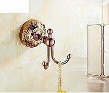 rose gold Bad-Accessoires/Goldene Haken/Vergoldete europäischen Bad Handtuch Haken/Kupfer-Metall Anhänger-Kit-A