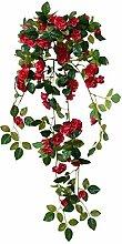 Rose hängend Künstliche Pflanze Kunstpflanze 70 cm Rot Dekoration Decovego