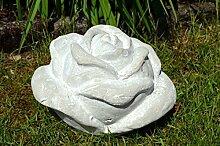 Rose Keramik Deko ca. 21cm grau weiß shabby Gartendeko rustikal Garten