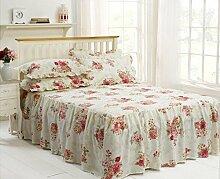 Rose Rosa Blumenmuster Einzelbett Bettüberwurf