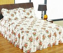 Rose weiß Blumenmuster Einzelbett Bettüberwurf