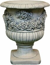 Rosen Amphore, Skulptur aus Steinguss