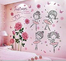 Rosen Blumen Pflanze Wandaufkleber DIY Ballett