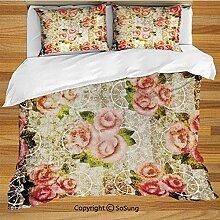 Rosen Dekorationen Bettwäsche Bettbezug Set,