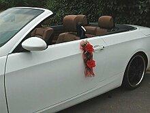 ROSEN GIRLANDE Auto Schmuck Braut Paar Rose Deko Dekoration Autoschmuck Hochzeit Car Auto Wedding Deko (Rot / Rot)