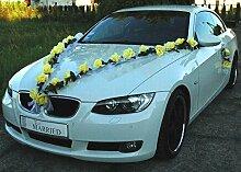 ROSEN GIRLANDE Auto Schmuck Braut Paar Rose Deko Dekoration Autoschmuck Hochzeit Car Auto Wedding Deko (Gelb / Weiß)