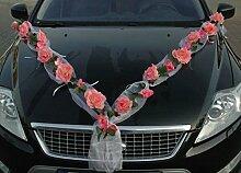 ROSEN GIRLANDE Auto Schmuck Braut Paar Rose Deko Dekoration Autoschmuck Hochzeit Car Auto Wedding Deko PKW (Rose Orchidee Rosa/Rosa)