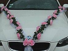 ROSEN GIRLANDE Auto Schmuck Braut Paar Rose Deko Dekoration Autoschmuck Hochzeit Car Auto Wedding Deko (Rosa / Weiß)