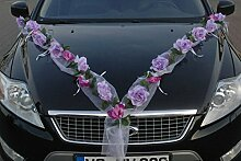ROSEN GIRLANDE Auto Schmuck Braut Paar Rose Deko Dekoration Autoschmuck Hochzeit Car Auto Wedding Deko PKW (Rose Orchidee Lila/Lila)