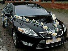 ROSEN GIRLANDE Auto Schmuck Braut Paar Rose Deko Dekoration Autoschmuck Hochzeit Car Auto Wedding Deko PKW (Ecru / Weiß)