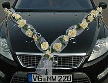 ROSEN GIRLANDE Auto Schmuck Braut Paar Rose Deko Dekoration Autoschmuck Hochzeit Car Auto Wedding Deko PKW (Rose Orchidee Ecru/Ecru)