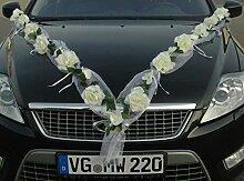ROSEN GIRLANDE Auto Schmuck Braut Paar Rose Deko Dekoration Autoschmuck Hochzeit Car Auto Wedding Deko PKW (Rose Orchidee Weiß/Weiß)