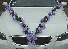 ROSEN GIRLANDE Auto Schmuck Braut Paar Rose Deko Dekoration Autoschmuck Hochzeit Car Auto Wedding Deko (Lila / Weiß)