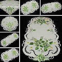 Rosen Mitteldecke Tischdecke Tischläufer Decke weiß mit grün Blume Stickerei - Größe wählbar (ca. 35 x 70 cm Oval)