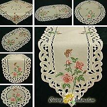 Rosen Tischläufer/Tischdecke Leinen-Optik Creme mit rosa Blumen Stickerei - Größe wählbar (ca. 40 x 110 cm Oval)