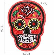 Rosen Totenkopf Stickerei Patches für T-Shirt