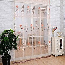 Rosen transparentem Tüll print unelastisch Polyester Vorhang vertikal-Jalousien Fenster, 100 * 200cm, 1 Tafel , pink