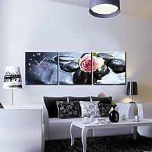 rosen wanduhr rahmenlose dekoration stein und rosen leinwand gemalt wanduhr , 60*60cm