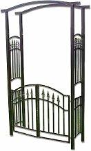 Rosenbogen Torbogen Rankhilfe Pergola Spalier für Rosen Blumen Garten Terrasse mit Tür Tor aus Metall Hammerschlag 216 cm dunkelbraun bronze