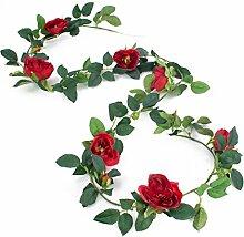 Rosengirlande mit 7 Rosenköpfen, rot, 200 cm - Kunstgirlande / Kunstblume - artplants