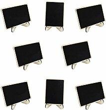 ROSENICE 10 Stück Kreidetafel Memotafel Notiztafel Tischkarte Holz Mini Tafel mit Ständer