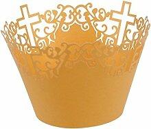 ROSENICE Cupcake Fällen überqueren Cupcake Wrappers Backbleche Cup Fall Hochzeit Party Dekoration in gelb 50 Pack