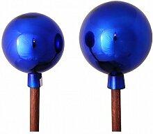 Rosenkugel am Stab - 1 Stück - Farbe: Blau - H140cm / D17cm - Glas / Massivholz - Gartendeko