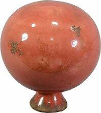 Rosenkugel Keramik rot Durchmesser 16 cm Gartenkugel zum Stellen Gartendeko