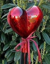Rosenkugel Rosenstab Herz ROT Gartenstecker