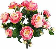 Rosenstrauß Busch pink 57cm Kunstblumen Flower