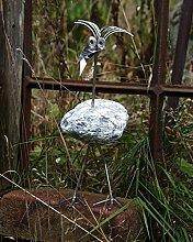 Rosi die Hüsche stehend Größe S ca. 20 cm Steinvogel bzw. Edelstahlvogel aus Edelstahl und Stein ein schöner Gartenvogel die besondere Art der Gartendeko