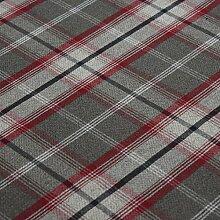 Rosso Balmoral Wolle Effekt waschbar Dick Tartan Designer Stoff ideal für Vorhänge, Rolladen Light to Medium Polstermöbel Kissen und vieles mehr–Verkauft Meterware