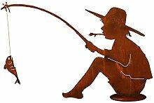 Rost - Angler mit Fisch - Höhe 60cm / Länge 90cm