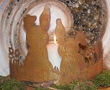 Rost Deko Hasen auf Blumenwiese, Tisch und Garten dekoration zu Ostern, Edelrost Blechfiguren