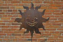 Rost Deko Rankstab Sonne lachend Gartendeko Stab Edelrost Beetstecker
